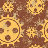 Vector seamless patterns with mechanism of watch. Creative geometric brown grunge backgrounds with gear wheel. Texture with cracks, ambrosia, scratches Stock Image