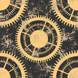 Vector seamless patterns with mechanism of watch. Creative geometric brown grunge backgrounds with gear wheel. Texture with cracks, ambrosia, scratches Royalty Free Stock Images