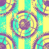 Vector seamless patterns with mechanism of watch. Creative geometric colorful grunge backgrounds with gear wheel. Texture with cracks, ambrosia, scratches Stock Photo