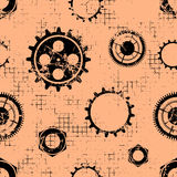Vector seamless patterns with mechanism of watch. Creative geometric coral grunge backgrounds with gear wheel. Texture with cracks, ambrosia, scratches Royalty Free Stock Photo