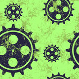 Vector seamless patterns with mechanism of watch.. Creative geometric green grunge backgrounds with blue gear wheel. Texture with cracks, ambrosia, scratches Royalty Free Stock Photos