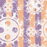 Vector seamless patterns with mechanism of watch. Creative geometric pastel blue, yellow grunge backgrounds with gear wheel.Texture with cracks, ambrosia Stock Photo