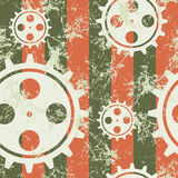 Vector seamless patterns with mechanism of watch. Creative geometric pastel coral grunge backgrounds with gear wheel. Texture with cracks, ambrosia, scratches Royalty Free Stock Photos