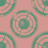Vector seamless patterns with mechanism of watch. Creative geometric pink grunge backgrounds with green gear wheel. Texture with cracks, ambrosia, scratches Royalty Free Stock Photos