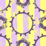 Vector seamless patterns with mechanism of watch. Creative geometric yellow, violet grunge backgrounds with gear wheel. Texture with cracks, ambrosia Royalty Free Stock Photography
