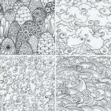 Vector seamless patterns with 4 nature elements. Vector set of seamless patterns with waves, fire, clouds and bushes. Contour illustrations. Asian theme. Nature Stock Images