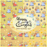 Vector seamless patterns set with Easter icons . Royalty Free Stock Image