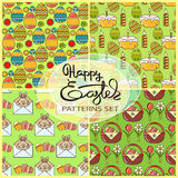Vector seamless patterns set with Easter icons. Royalty Free Stock Photo