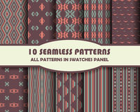 Vector of Seamless Patterns set. Eps 10 Stock Photos