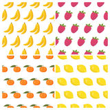 Vector seamless patterns set with fruits. Healthy food background Stock Photo