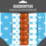Vector seamless patterns set of quadrocopters and remote controls in package with shadow. Royalty Free Stock Photos