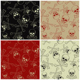 Vector seamless patterns with skulls and bones Royalty Free Stock Photography