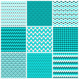 9 vector seamless patterns. With the texture of the water and the waves of the sea Royalty Free Stock Photo