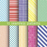 10 vector seamless patterns. Textures for wallpaper, fills, web page background. Royalty Free Stock Images