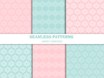 Vector seamless patterns (tiling) collection in pastel shades. Set of  geometric ornaments in retro style. Stock Photos