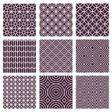Vector seamless patterns in trendy mono line style Stock Images