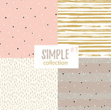 Vector seamless patterns with universal simple textures. Stock Photography