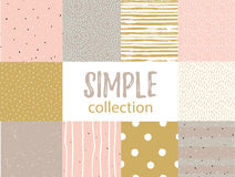 Vector seamless patterns with universal simple textures. Set for fabric, gift wrap and wallpaper. Stock Images