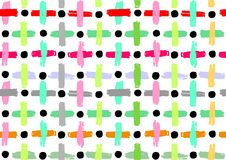 Vector seamless patterns, vector colorfull painted shapes, cross geometric seamless patterns, repeating brushes, crosses and line. Decorations, vector colorfull Stock Photography
