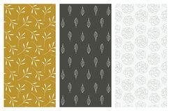 Free Vector Seamless Patterns With Flowers And Leaves Stock Photography - 104036942