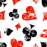 Vector Seamless Patterns With Icons Of Playings Cards. Creative Geometric Red, Black, White Grunge Backgrounds Stock Images