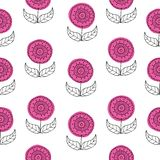 Vector seamless patttern background set of beautiful hand drawn flowers in retro style. Floral drawing with line-art on stock illustration