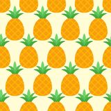 Vector seamless pineapple pattern on yellow background royalty free illustration