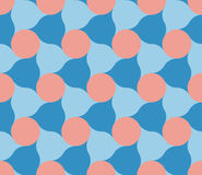 Vector Seamless Pink Blue Circles And Rounded Triangle Shape Tiling Pattern Royalty Free Illustration