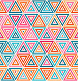 Vector Seamless Pink Orange Blue White Random Color Triangle Lines Grid Geometric Pattern Stock Photo