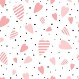 Vector seamless pink pattern heart ornament decorated black polka dot ornament love background Valentines day print. St Valentines seamless pink pattern with vector illustration
