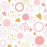 Vector seamless pink pattern heart ornament decorated pink hand drawn round shapes Pyjama print. Cute seamless pink pattern with heart shapes ornament decorated vector illustration