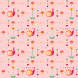 Vector seamless pink pattern with snails. Mushrooms, flowers and hearts Royalty Free Stock Photo