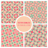 Vector Seamless Pink Teal Geometric Retro Square Pattern Stock Photo