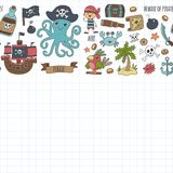 Vector seamless pattern Pirate party for children Kindergarten Kids. Vector seamless Pirate party for children Kindergarten Kids children drawing style Royalty Free Stock Photography