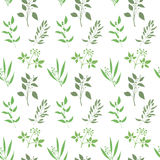 Vector seamless plant background. Endless pattern with green twigs and leaves silhouette. Royalty Free Stock Photography