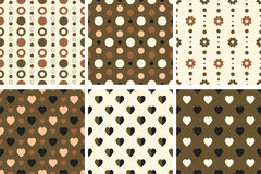Vector seamless poka dot and heart tiling patterns. For printing on fabric, scrapbooking, gift wrap Stock Images