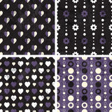 Vector seamless poka dot and heart tiling patterns. For printing on fabric, scrapbooking, gift wrap Stock Photo