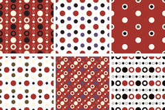 Vector seamless poka dot patterns. Vector seamless poka dot tiling patterns. For printing on fabric, scrapbooking, gift wrap Stock Images