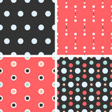 Vector seamless poka dot tiling patterns. For printing on fabric, scrapbooking, gift wrap Stock Image