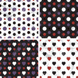 Vector seamless polka dot and heart tiling patterns. Vector seamless poka dot and heart tiling patterns with grunge texture. For printing on fabric, scrapbooking Royalty Free Stock Images