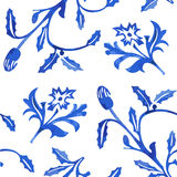 Vector Seamless Porcelain Pattern in White Background Stock Images