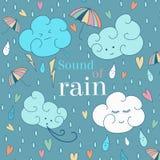 Vector seamless rain theme card. Cute greeting card and sample text. Royalty Free Stock Photo