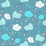 Vector seamless rain theme pattern. Colorful doodling autumn design with clouds. stock illustration
