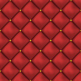 Vector seamless red buttoned leather pattern . Upholstery or walls. Stock Image