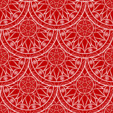 Vector Seamless Red Floral Mandala Pattern Royalty Free Stock Photos