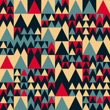 Vector Seamless Red Navy Blue Tan Colors Geometric Irregular Triangle Square Pattern. Abstract Background Royalty Free Stock Photo