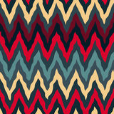 Vector Seamless Red Tan Navy Blue Colors  Rough Hand Painted ZigZag Lines Pattern Stock Photos