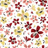 Vector seamless repeat colorful floral pattern with pink, rust and yellow flowers and white background. royalty free illustration