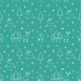Vector seamless repeat pattern with Christmas holiday,Icons of winter season on green background Royalty Free Stock Photography