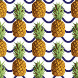 Vector seamless repeating pineapple pattern on Royalty Free Stock Photos